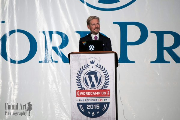 Matt Mullenweg at the WCUS podium delivering the State of the Word keynote.