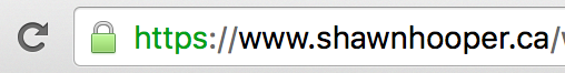 Chrome Address Bar for ShawnHooper.ca showing TLS certificate padlock