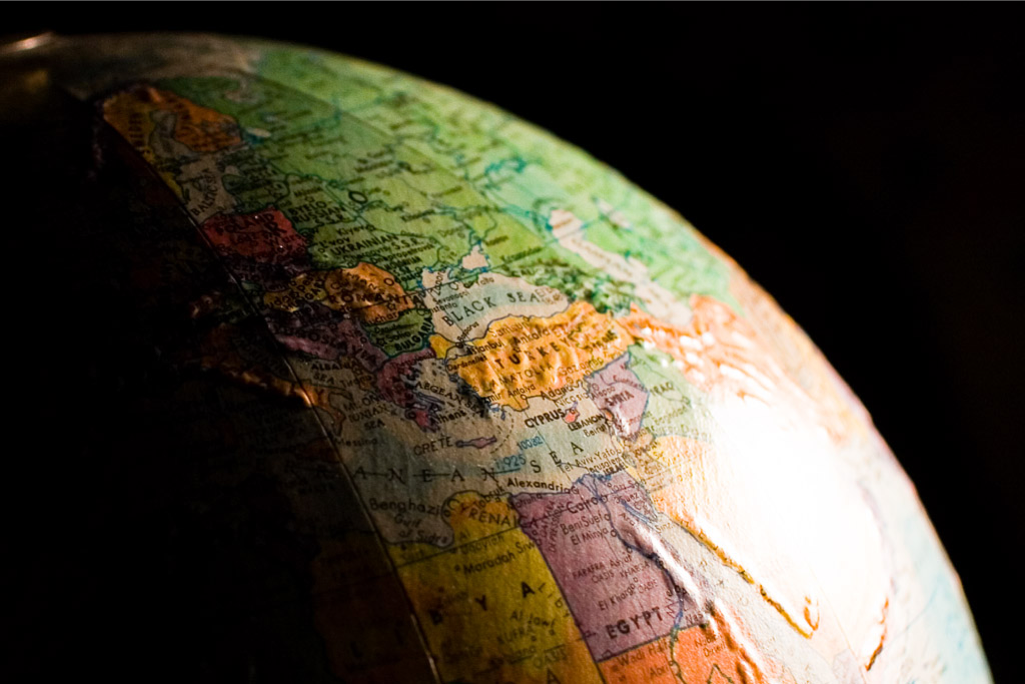 A section of the earth on a globe