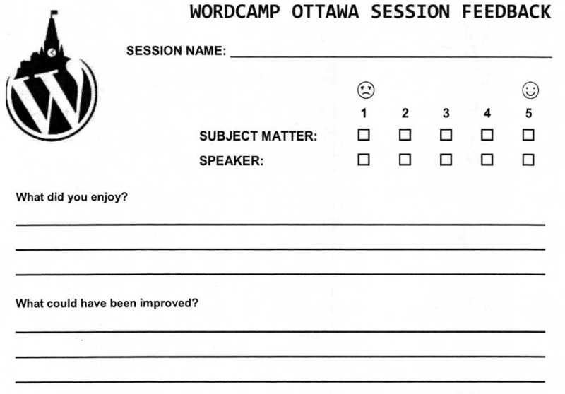 A photo of the feedback form used at WordCamp Ottawa