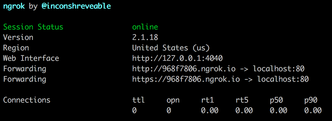 Screenshot of ngrok running in Terminal